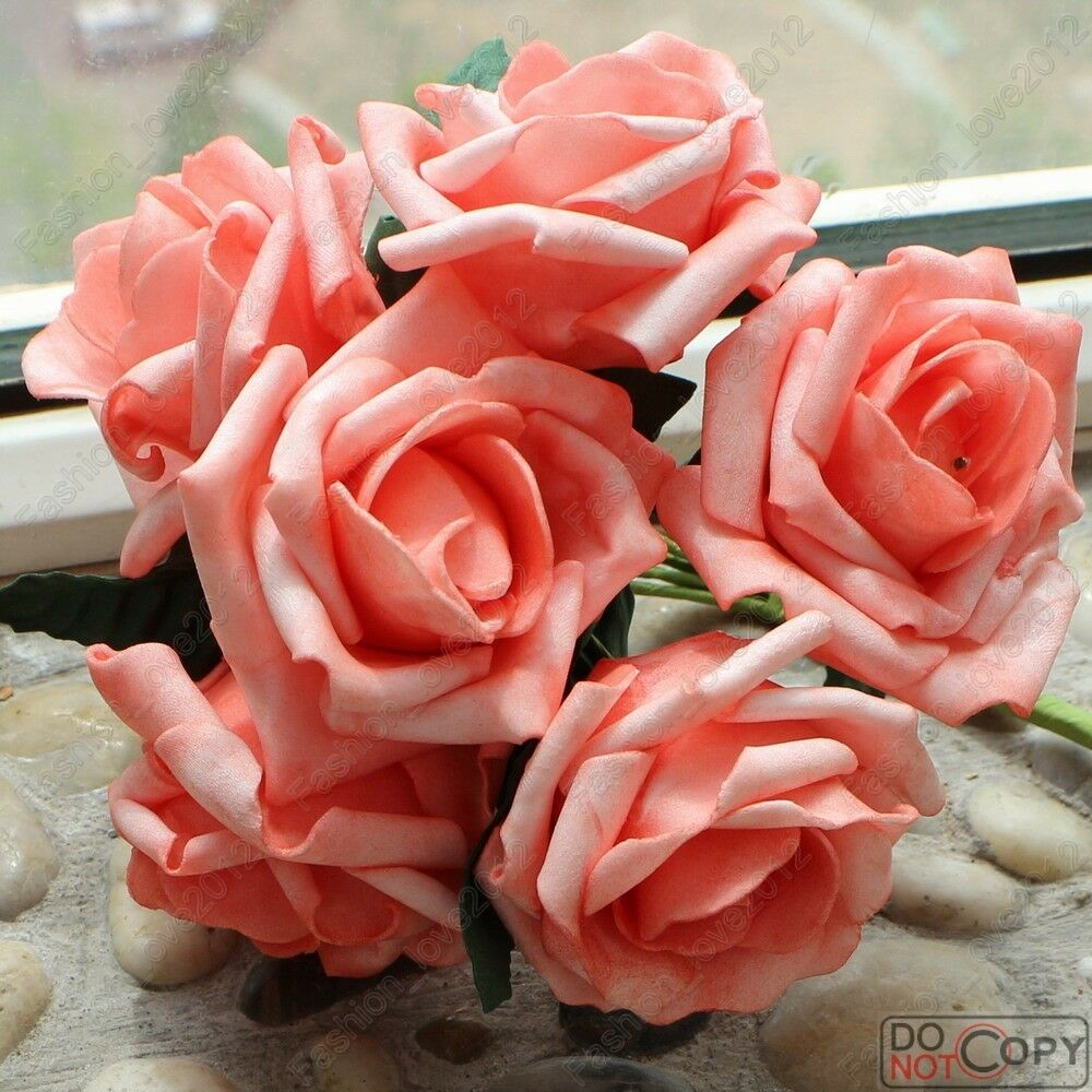 72pcs Coral Roses Fake Artificial Flowers for Wedding Bouquet Center ...
