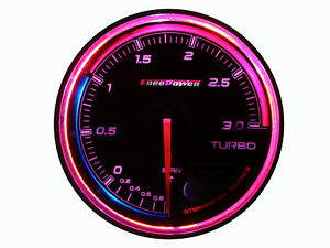 Details about 60mm Boost Gauge Turbo Meter 270 degree Sweep 256 RGB LED  Colors Display 3 BAR