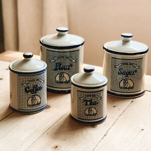 Vintage-Set-of-4-Country-Best-Coffee-Sugar-Flour-Tea-Ceramic-Canisters-Blue