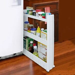 Image Is Loading 3 Tier Slim Slide Out Kitchen Bathroom Thin
