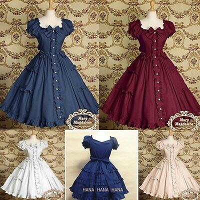 Ladies Victorian Lolita Gothic Barbie Palace Retro Lotus Leaf Princess Dress