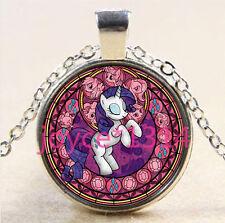Unicorn Stained Cabochon Tibetan silver Glass Chain Pendant Necklace #2862