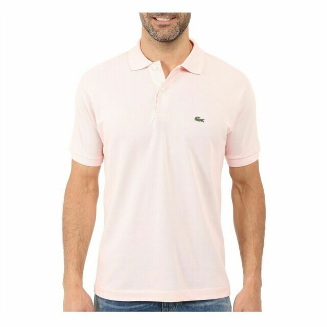 Lacoste Mens Classic Fit Pink Short Sleeve Button Polo Croc Logo Shirt 2/xs