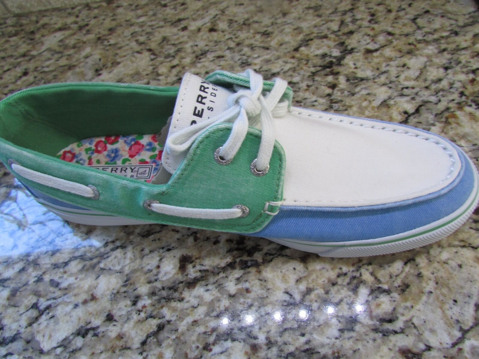 NEW SPERRY TOP-SIDER BISCAYNE BOAT SHOES Donna 9.5 BLUE GREEN  FREE SHIP