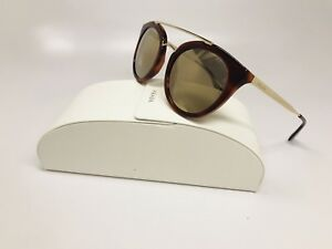 a769f9c6ff89 New Prada SPR 23S USE-1C0 Havana   Gold Sunglasses w Gold Mirror ...
