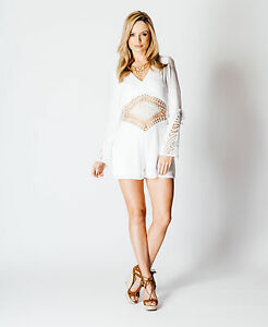 Womens-White-Crochet-Detail-Short-Playsuit-Long-Sleeve-Boho-Sizes-8-12-14