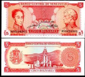 VENEZUELA-5-BOLIVARES-1989-P-70-UNC