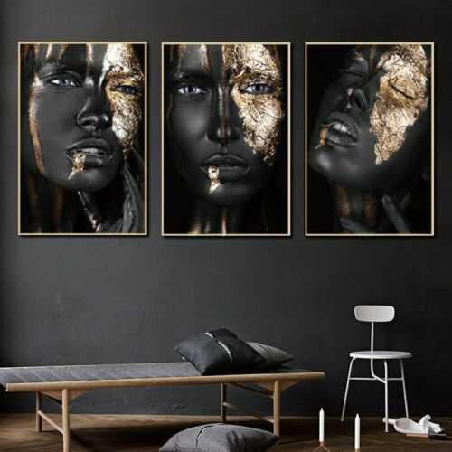 African Black Gold Woman Canvas Painting Wall Art Posters Prints Wall Pictures