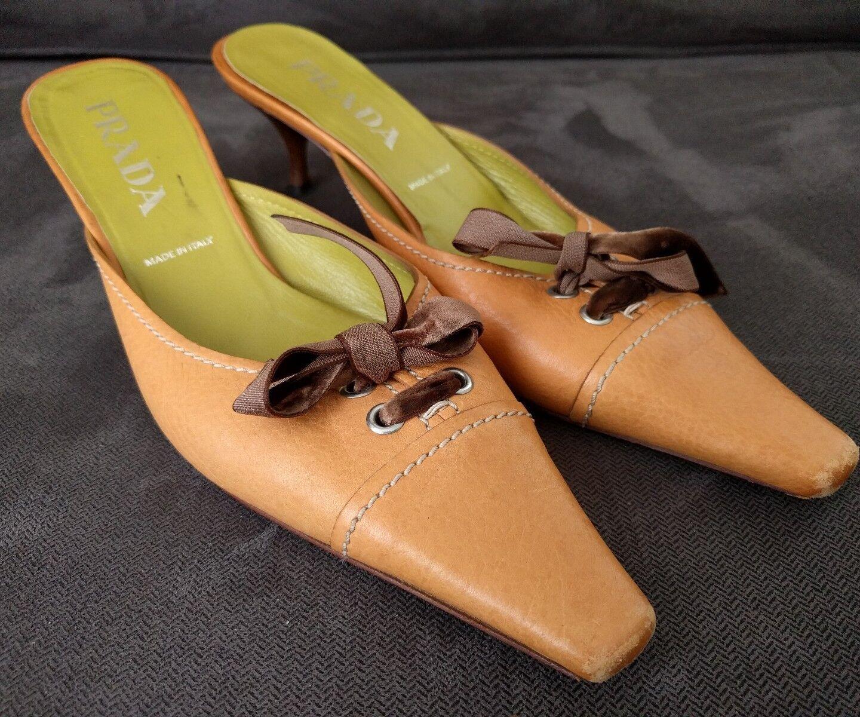 Vintage PRADA Tan Suede Kitten Heel shoes Sz 37.5   7-7.5 U.S. Point Toe