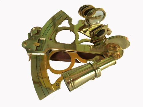 """Antique Brass Sextant Nautical Working Maritime Astrolabe Ships Instruments 8/"""""""