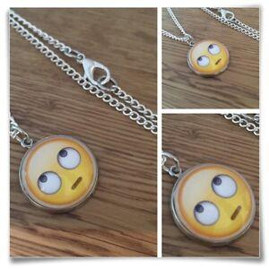 Emoji Rolling Eyes Eye Roll face Charm pendant necklace txt geek