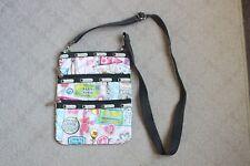 Lesportsac Crossbody Purse Handbag Rodeo Fair Tickets Lollipop Sucker 3 Zippers