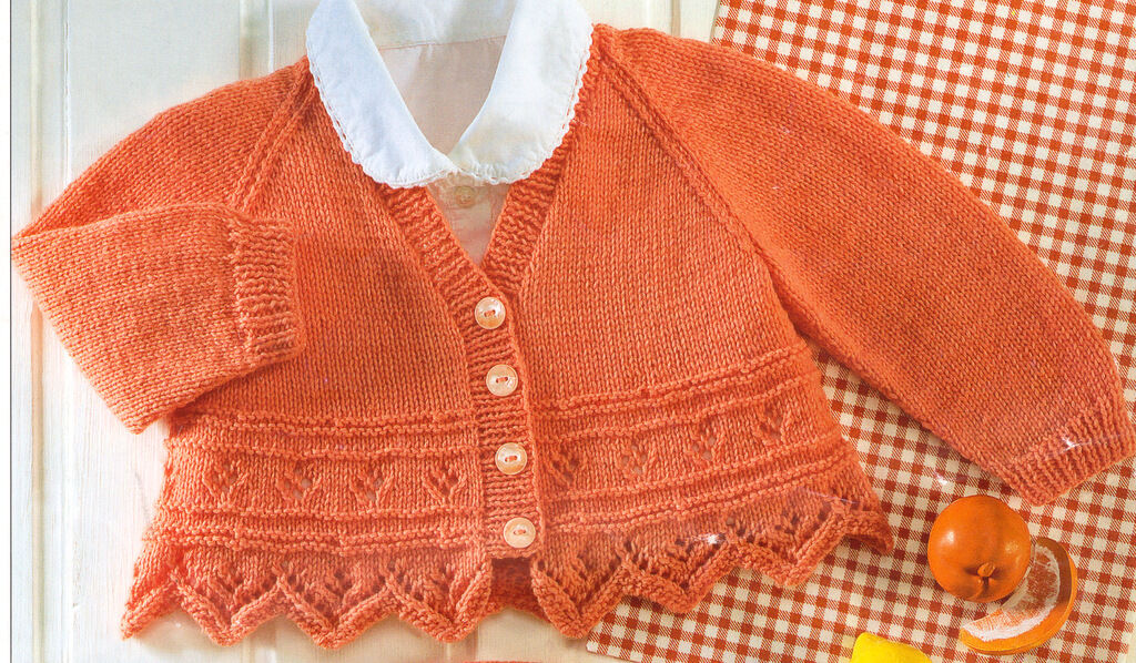 Leaf Panel Knitting Pattern : Baby Cardigans Tulip/Leaf Pointed Border & Flower Panel 4 ...
