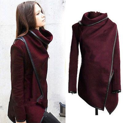 Women High Neck Winter Warm Trench Coat Long Wool Jacket Outwear Parka Cardigan