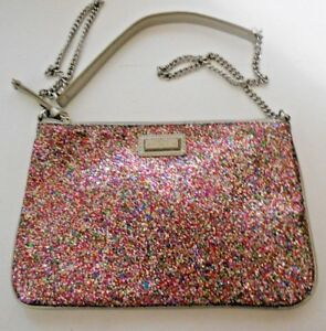 8c036a95ba Mango Touch Sequin Silver Cross Over Hobo Chain Strap Hang Bag Purse ...