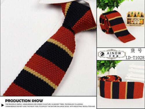 Men/'s Colourful Stripe Fashion Knit Knitted Necktie Tie Narrow Slim Skinny Woven