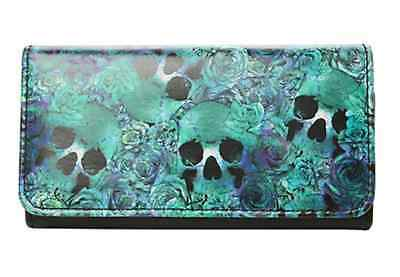 Loungefly Watercolor Skull and Floral Rose Trifold Snap Wallet