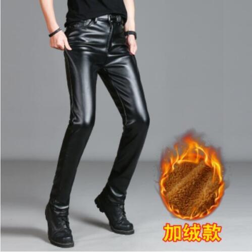 Mens Punk Moto PU cuir Pantalon Skinny Slim Casual Pantalon long doublé de fourrure
