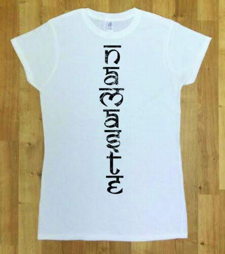 Damen//Mode Bedruckt Damen weiß T-shirt Namaste Brand Neu
