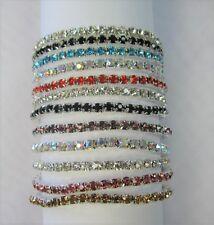 Wholesale 12 PCS Stretch Rhinestone Crystal Bracelets Silver Plated Mix Colors