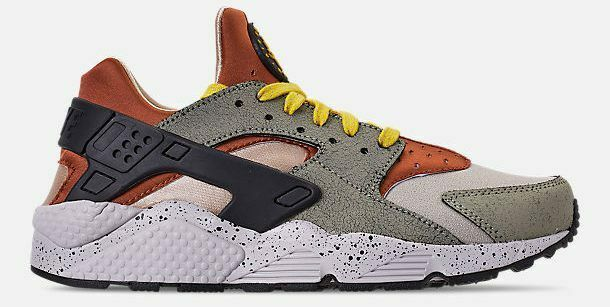 NIKE AIR HUARACHE RUN PREMIUM MEN's CASUAL SPRUCE FOG - BLACK - BRIGHT CITRON SZ
