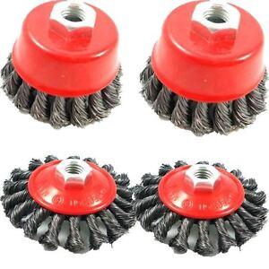 4pc-rueda-de-alambre-plano-Giro-Nudo-Semi-Taza-cepillo-conjunto-kit-para-amoladora-angular-115MM