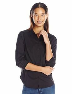 NEW-NYDJ-WOMEN-039-S-FIT-SOLUTION-3-4-SLEEVE-BUTTON-FRONT-SHIRT-TOP-BLACK-LARGE