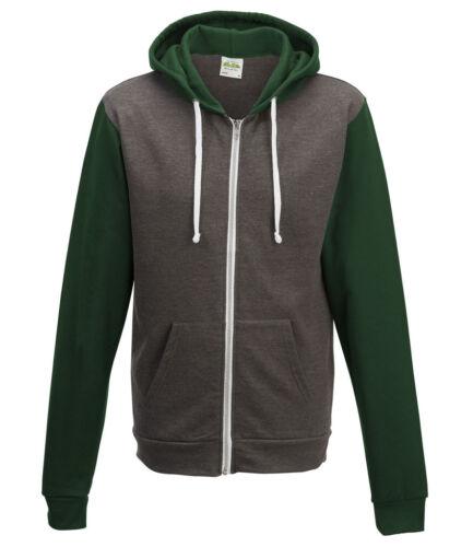 AWDis uomo Contrasto Retro Zoodie Felpa con cerniera intera giacca di molte scelte di colore