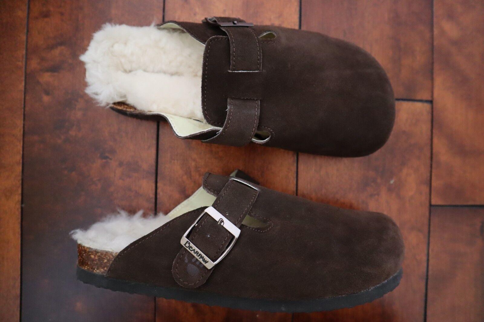 Dark Brown Suede Shearling Sheepskin Insole BEARPAW Slides w Strap 8
