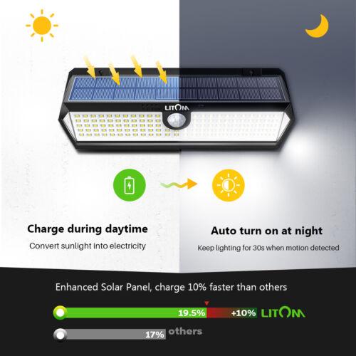 LITOM 122 LED Solar Powered Lights Wall Motion Sensor Garden Security Waterproof