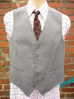 S/m 38r-vintage Anni'70 Da Uomo Grigio Rosso Stripe Lana Gilet Panciotto Suit-c977-mostra Il Titolo Originale