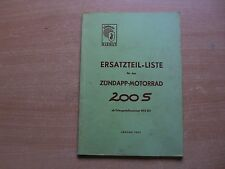 Ersatzteil Liste Katalog Zündapp 200 S Ausgabe 01.1957