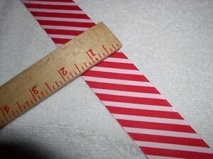 3-11-yds-1-5-Wide-Grosgrain-Ribbon-Red-amp-White-Diagonal-Stripes-Candy-Cane-034