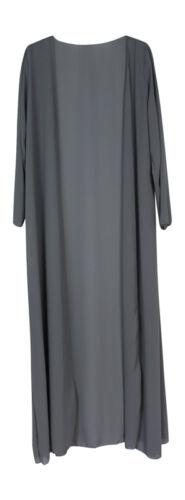 Womens Ladies Chiffon Maxi Long sleeve Cardigans Open Front Modest Fashion Abaya