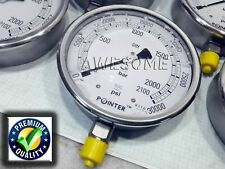 High Pressure Gauge Dual Scale 0 2000 Bar 0 30000 Psi Full Stainless Steel Body