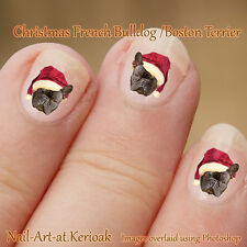 FRENCH BULLDOG, Boston Terrier Christmas Santa Hat Dog Nail Art Stickers decals