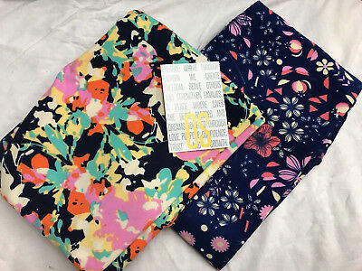 lularoe Navy Blue Yellow Coral And Pink Floral Print leggings os One Size Rare