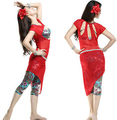 Belly Dance Costume Mesh Pushup One-piece Dress with Bra and Pants 3pcs full set