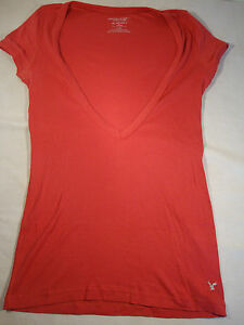 American Eagle Womens Salmon Pink T Shirt Blouse T-Shirt Top S ...