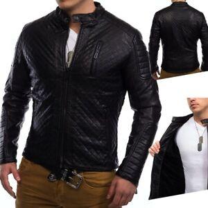 Hommes-bordee-de-cuir-d-039-hiver-veste-veste-de-motard-en-similicuir-matelasse-Coby