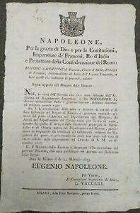 1810-MILANO-BANDO-DI-NAPOLEONE-BONAPARTE-SU-CALZE-E-BERRETTE-DI-COTONE-DA-NAPOLI