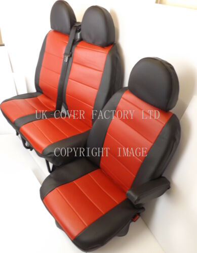 Made to Measure1+2 Red  Quilted PVC Leather Mercedes Sprinter Van  Seat Cover