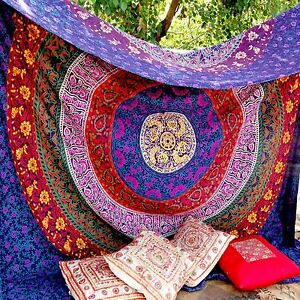 Indian Mandala Plum & Bow Medallion Tapestry Bedspread Boho Bedding Wall Hanging