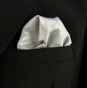 Men-039-s-Pocket-Square-Wedding-Fashion-10-034-Dress-Suit-Handkerchief-Silver-Hanky