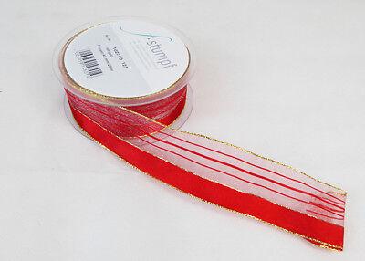 Attivo Nastro Animato Raso-organza Rosso Mm 25 Mt 20 Decorazione Addobbi Natale