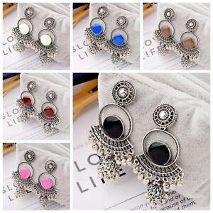 Vintage-Women-039-s-Bohemian-Colorful-Engrave-Drop-Small-Bell-Tassel-Dangle-Earrings