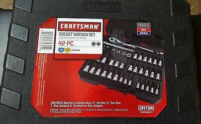 Craftsman 42 piece 1//4 and 3//8-inch Drive Bit /& Torx Bit Socket Wrench Tool Set