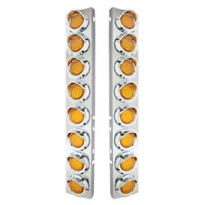 Peterbilt Front Air Cleaner Kit w/ 16 Flat LED Lights & Visor - Amber Lens