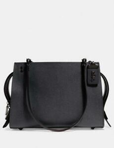 COACH-Rogue-Chain-Shoulder-Tote-Bag-Grain-Leather-Purse-Midnight-Navy-595