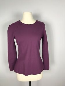 Kate-Spade-Saturday-Dark-Purple-Long-Sleeve-Rayon-Structured-Top-Women-s-M